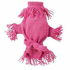 Zack & Zoey Fringe Belted Dog Sweater Acrylic Knit Pullover Style Pink