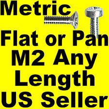Metric Pan or Flat Head Machine Screws M2 x 3, 4, 5 etc