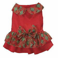 Zack & Zoey HOLIDAY SPARKLE Dog Dress Red Satin Bodice Hook & Loop Closures Pup