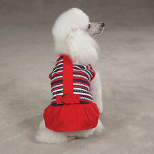 East Side Collection Nautical Ticking Dog Dress D-Ring Pullover Sleeveless