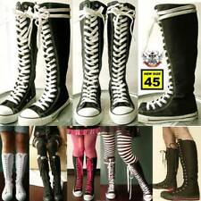 KERA PUNK EMO Gothic Goth KNEE HIGH Canvas Sneaker Boot
