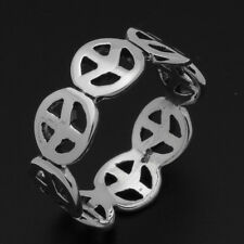 925 Sterling Silver Peace Sign Band Ring 6-7-8-9 High Polish