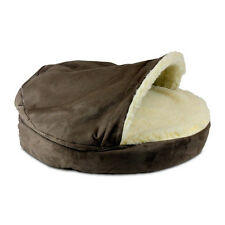 Dog Pet Bed Luxury Cozy Cave Covered Monogram Chocolate