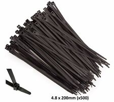 500 x Top Quality CABLE TIES 4.8mm x 200mm BLACK ZIP CLIPS CT048200B05