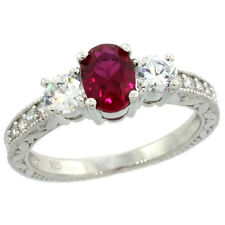 Sterling Silver Vintage Style Engagement Ring w/Ruby Red Color & Clear CZ Stones