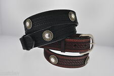 NEW WESTERN WEAVE EMBOSSED LEATHER CONCHO BELT 625C