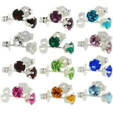 Birthstone 4mm (0.25 Carat Each) Swarovski Crystal Sterling Silver Stud Earrings