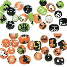 U pick Lot 10 Hand painted Spooky Halloween Glass Beads