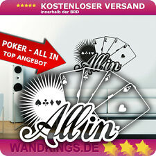 Wandkings Wandtattoo Poker - All in pokern Kartenspiel Spielkarten 120x74cm TOP!