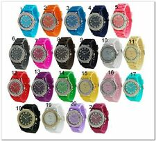 Geneva Silicone Jelly Watch with Crystals on Bezel Multi Colors to Choose