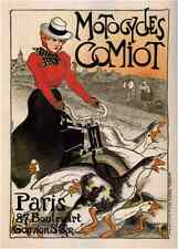"Vintage Advertising- Comiot Motocycles France c.1899 -24""x36"" Canvas"