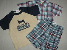 Gymboree BEACH BULLDOG Patchwork Shorts Plaid Shirt Big Bro Tee NWT 12-18 U PICK
