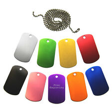 Dog Tag Coloured Engraved Personalised Free Ball Chain Army Present Xmas Gift