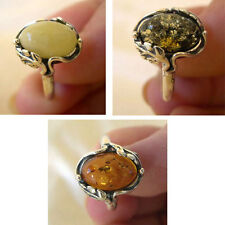 BALTIC MULTICOLOR GREEN BUTTERSCOTCH or HONEY AMBER & STERLING SILVER LEAF RING