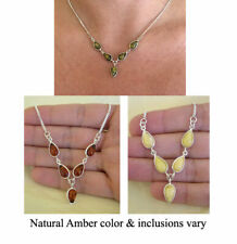 BALTIC HONEY, GREEN or BUTTERSCOTCH AMBER & STERLING SILVER NECKLACE CHOKER