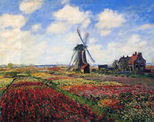 """A Field of Tulips in Holland  by Claude Monet - 20""""x26"""" Art on Canvas"""