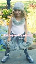 Gray Grey Ashy Pettiskirt with White Pettitop Top in Neutral Rosettes Set 1-8Y