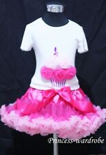 Hot Light Pink Pettiskirt with Hot Light Pink Rose Birthday Cake Tank Top 1-8Y