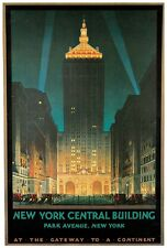 "New York Central Building-Park Ave. NY - 24""x36"" Vintage Travel Poster on Canvas"