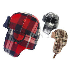 ADULT CHECKED TRAPPER RUSSIAN WINTER WARM FLEECE LINED HAT WITH STRAP 3 COLOURS
