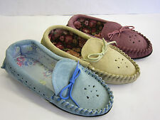 LADIES SUEDE MOCCASIN SLIPPERS ( PUNCHED)