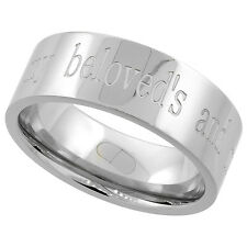 """8mm Stainless Steel """"I AM MY BELOVEDS AND MY BELOVED IS MINE"""" Band Ring"""