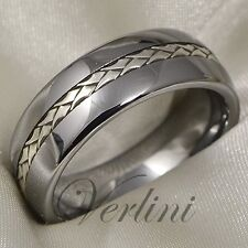 Tungsten Ring Silver Inlay Men's Wedding Band Titanium Color Size 6-13