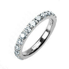 Solid Titanium Eternity with Round CZs all around 3mm Width Band Ring R116