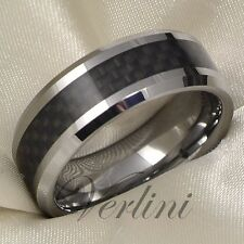 Men's Tungsten Ring Carbon Fiber Infinity Wedding Band Titanium Color Size 6-13