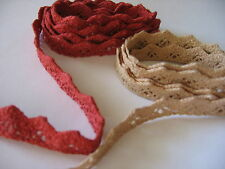 "NEW! Hand Dyed Cluny lace RIC RAC TRIM,1/2"" wide 1yd,PAPRIKA or CHAMPAGNE,CHOICE"