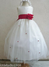 NEW IVORY/RED INFANT PAGEANT WEDDING FLOWER GIRL DRESS S M L XL 2 4 6 8 10 12 14