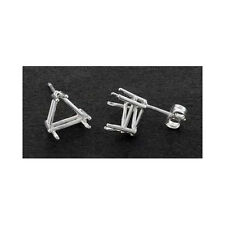 ( 5mm - 9mm ) Trillion Solid Sterling Silver Cast Wire Earring Settings