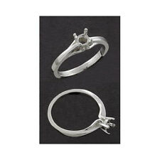 4.5mm Round Basic Solid Sterling Silver Cast Ring Setting (Ring Size 4-11)