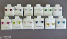 .925 sterling silver 5mm cz heart shaped stud pair earrings birthstone colors