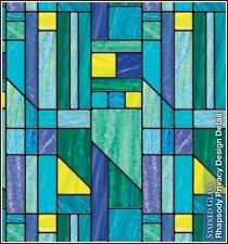 RHAPSODY Privacy Stained Glass Decorative Window Film Blue Vinyl Glass Clings
