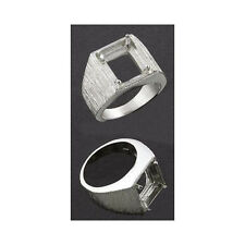 (10x8mm -12x10mm) Emerald Cut Brushed Sterling Ring Setting (Ring Sizes 7 -15)