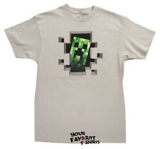 Officially Licensed Minecraft Video Game Creeper Inside Silver Adult Shirt S-3XL