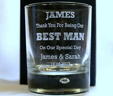 Engraved Bubble Based Whisky Glass in Gift Box For Best Man/Dad/Wedding/Mum