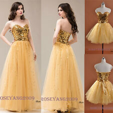 New Stock size Sequins Long Gold Prom Dress Evening Party Dresses Gown