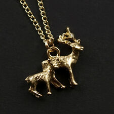 DEER necklace . charm bambi fawn stag gold bronze vintage retro indie pendant