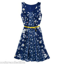NEW! Jason Wu for Target Chiffon Dress in Navy Blue Floral w Gold Yellow Belt