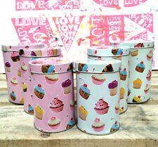 Set of 3 Small Cupcake Design Canisters/Tins Kitchen Food Storage Decorative