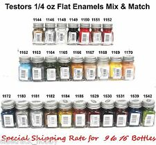Testors Flat Enamel 1/4 oz Paint Bottles Mix & Match Variety
