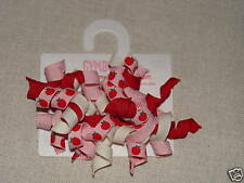 Gymboree PREP SCHOOL Pink Red White Apple Ribbon Curly Barrette 2 pack NWT
