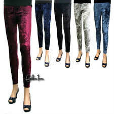 New Celeb Sexy Punk Rock Funky Stretchy Crushed Velvet Leggings Tights Pants