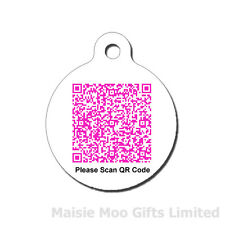 Personalised QR Code Metal Pet | Dog | Cat Tag | Pink | Red | Blue Green | Black