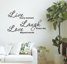 Live every moment wall art sticker quote - 4 sizes - loads of colours