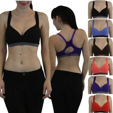 Cotton Racerback Sports Bra Padded Support Comforts Angel Fitness Yoga Exercise
