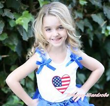 White Pettitop Tank Top Patriotic Heart wif Optional Bow 4 Pettiskirt Girl NB-8Y