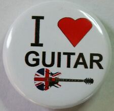 I Love Guitar Button Badge 25mm, 38mm Or 58mm, **Brand New**